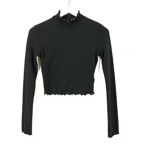 Urban Outfitters Black Long Sleeve Crop Top